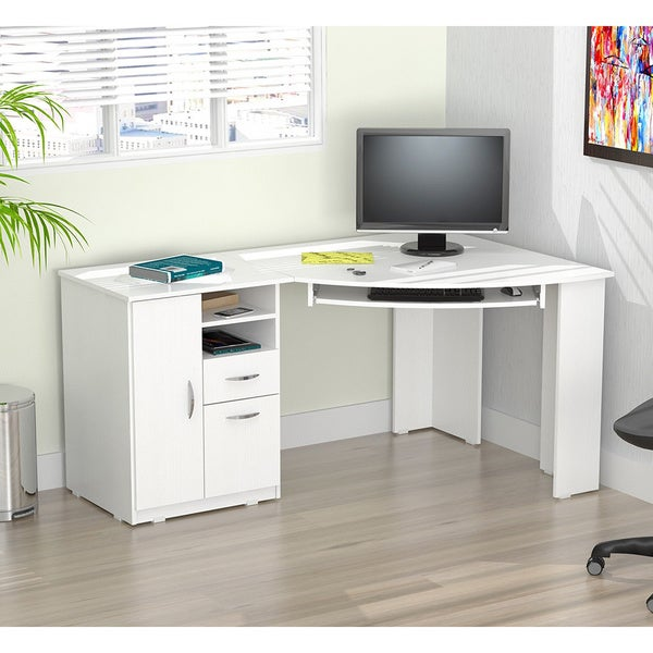 Inval Laricina White Corner Desk Free Shipping Today