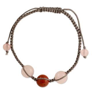 Handmade Jasper Quartz 'Courageous Romance' Bracelet (India)