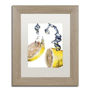 Roderick Stevens 'Lemon Splash II' White Matte, Birch Framed Wall Art