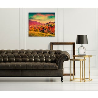 Gallery Direct Colorful Autumn Sunset in a Mountain Village Print on Birchwood Wall Art