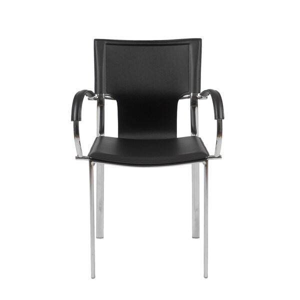 shop vinnie black leather chrome arm chairs set of 2 free