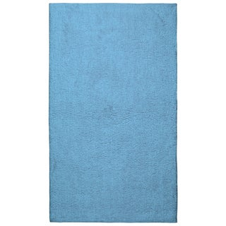 Plush Pile Light Blue 21 x 34 inch Bath Rug