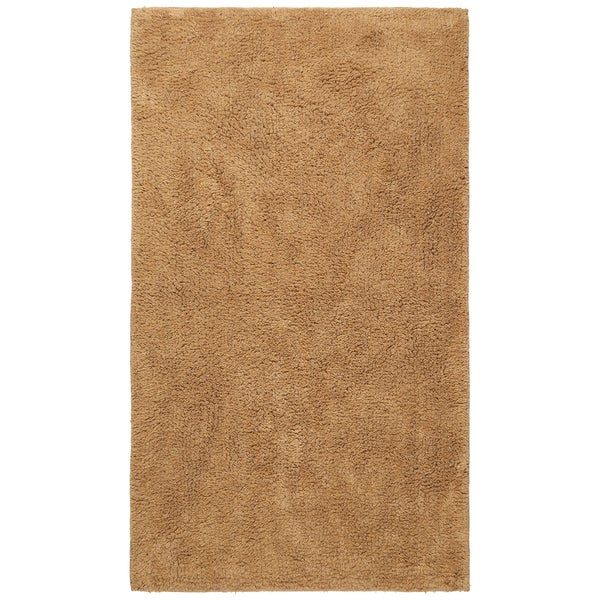 Plush Pile Tan Cotton 21 x 34-inch Bath Rug