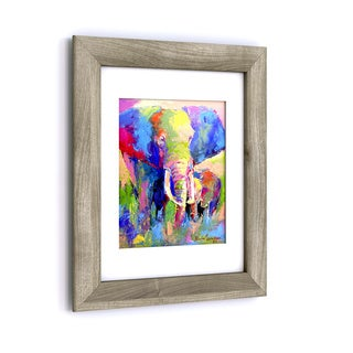 Richard Wallich 'Elephant 1' White Matte, Birch Framed Wall Art