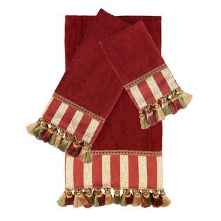 Austin Horn Classics Mount Rouge Red 3-piece Luxury Embellished Decorative Towel Set