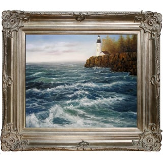 Jerry Sauls 'High Winds at the Point' Hand Painted Framed Canvas Art