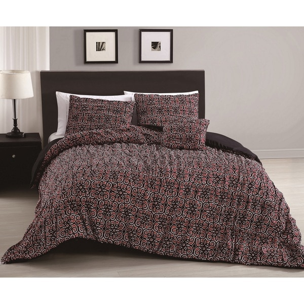 Quinn Red and Black 4-piece Comforter Set