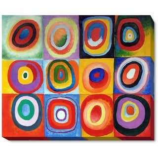 Kandinsky 'Farbstudie Quadrate' (Color Study of Squares) Hand Painted Framed Canvas Art