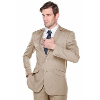 Verno Fabbri Men's Texture Tan Slim Fit Italian Styled Two Piece Suit