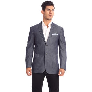 Verno Moretti Men's Dark Chambray Slim Fit Italian Styled Blazer