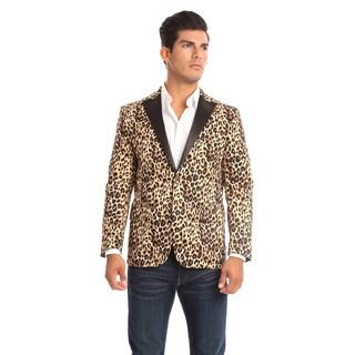 Verno Raneri Men's Leopard-print Slim fit Tuxedo Style Blazer