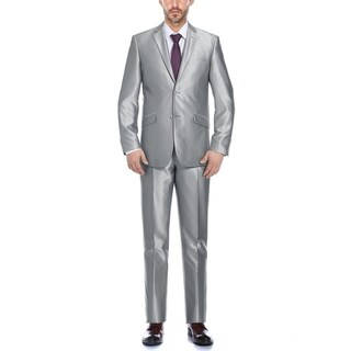 Verno Cavallo Men's Silver synthetic Sharkskin Classic Fit 2-PC Suit (2 options available)