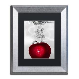Roderick Stevens 'Red Apple Splash' Black Matte, Silver Framed Wall Art