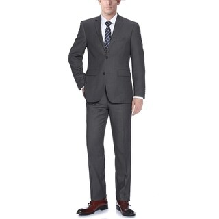 Verno Men's Barzetti Dark Grey Classic-fit Italian-style 2-piece Suit