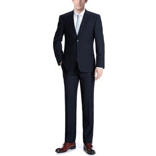 Verno Albani Men's Dark Navy Slim Fit Italian Styled Two Piece Suit