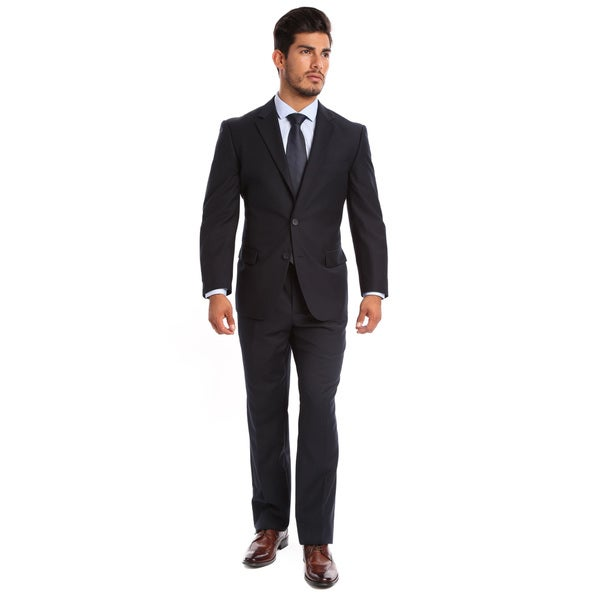 Tazio Men's Slim Fit Navy 2-button Suit - Free Shipping Today ...