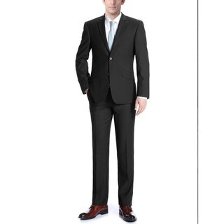 Verno Adessi Men's Black Slim Fit Italian Styled Two Piece Suit
