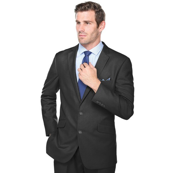 Verno Adessi Men's Black Slim Fit Italian Styled Two Piece Suit ...