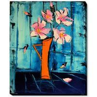 Atelier De Jiel 'Flowers on Blue Background' Framed Fine Art Print