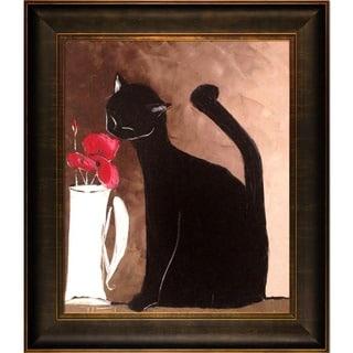 Atelier De Jiel 'Black Cat with Poppies' Framed Fine Art Print