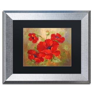 Rio 'Poppies' Black Matte, Silver Framed Wall Art