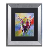 Richard Wallich 'Longhorn' Black Matte, Silver Framed Wall Art