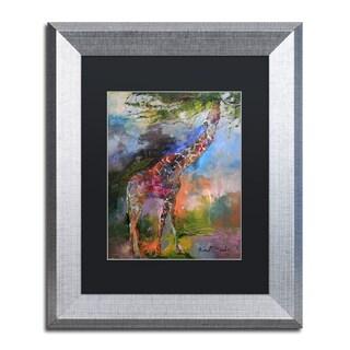 Richard Wallich 'Giraffe' Black Matte, Silver Framed Wall Art