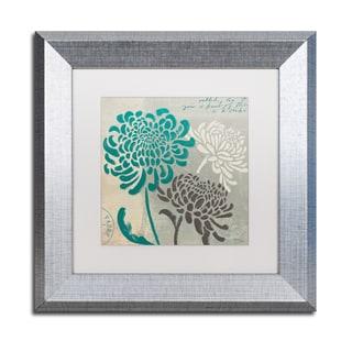 Wellington Studio 'Chrysanthemums I' White Matte, Silver Framed Wall Art