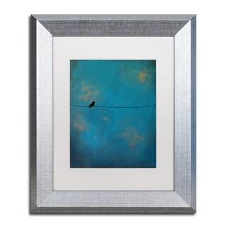 Nicole Dietz 'Lone Bird Blue' White Matte, Silver Framed Wall Art