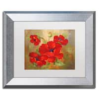 Rio 'Poppies' White Matte, Silver Framed Wall Art