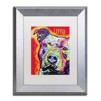 Dean Russo 'Thoughtful Pitbull' White Matte, Silver Framed Wall Art