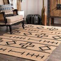 The Curated Nomad Arguello Handmade Native Drawings Natural Jute Area Rug - 5' x 8'