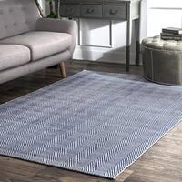 nuLOOM Handmade Flatweave Chevron Cotton Navy Rug (9' x 12') - 9' x 12'