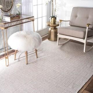 nuLOOM Handmade Flatweave Diamond Cotton Taupe Rug (9' x 12')