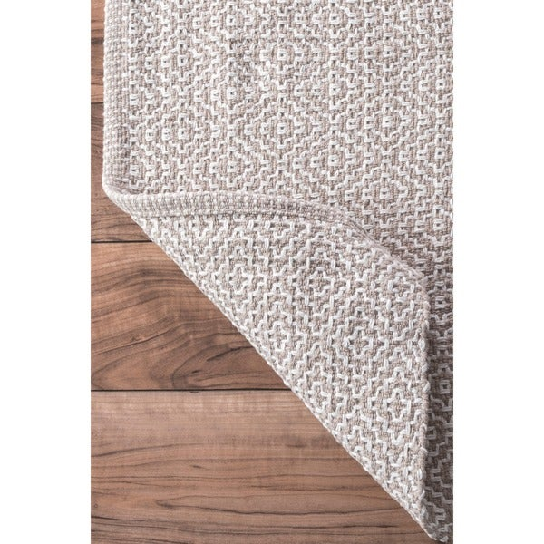 NuLOOM Handmade Flatweave Diamond Cotton Taupe Rug (9u0027 X 12u0027)   Free  Shipping Today   Overstock.com   17741178