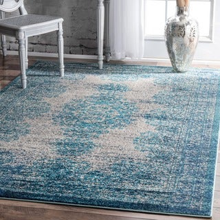 nuLOOM Transitional Vintage Abstract Blue Rug (9' x 12')