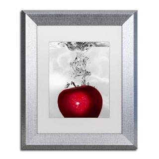 Roderick Stevens 'Red Apple Splash' White Matte, Silver Framed Wall Art