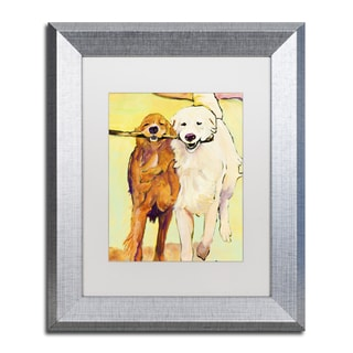 Pat Saunders-White 'Stick With Me 1' White Matte, Silver Framed Wall Art