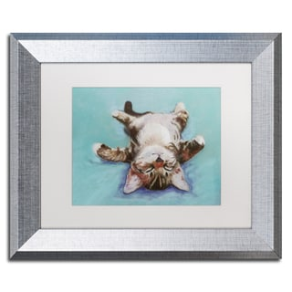 Pat Saunders-White 'Little Napper' White Matte, Silver Framed Wall Art