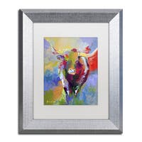 Richard Wallich 'Longhorn' White Matte, Silver Framed Wall Art