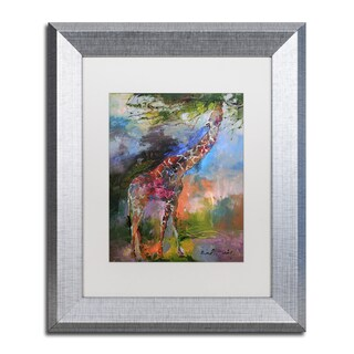 Richard Wallich 'Giraffe' White Matte, Silver Framed Wall Art