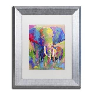 Richard Wallich 'Elephant 1' White Matte, Silver Framed Wall Art