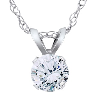 Bliss 14k White Gold 1/ 2ct TDW Diamond Round Solitaire Pendant Necklace