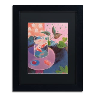 Sheila Golden 'Goldfish' Black Matte, Black Framed Wall Art