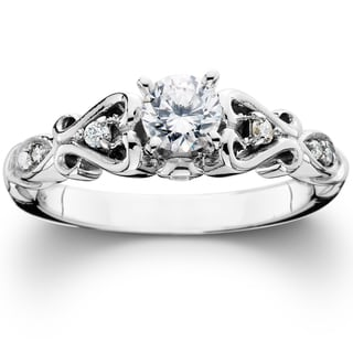 14k White Gold 1/ 2ct TDW Vintage Diamond Engagement Ring (I-J, I2-I3)