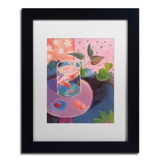 Sheila Golden 'Goldfish' White Matte, Black Framed Wall Art
