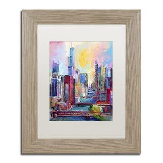 Richard Wallich 'Chicago 3' White Matte, Birch Framed Wall Art