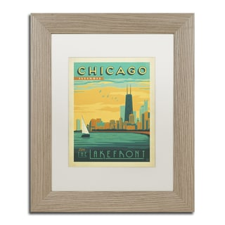 Anderson Design Group 'Chicago II' White Matte, Birch Framed Wall Art