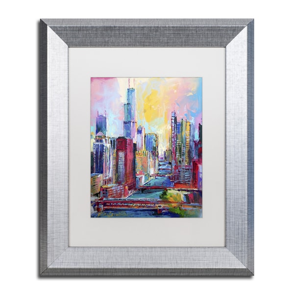 Richard Wallich 'Chicago 3' White Matte, Silver Framed Wall Art