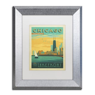 Anderson Design Group 'Chicago II' White Matte, Silver Framed Wall Art
